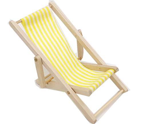 Egurs miniatuur opvouwbare gestreepte strandstoel van hout mini vrije tijd ligstoel voor dollhouse tuin accessoires