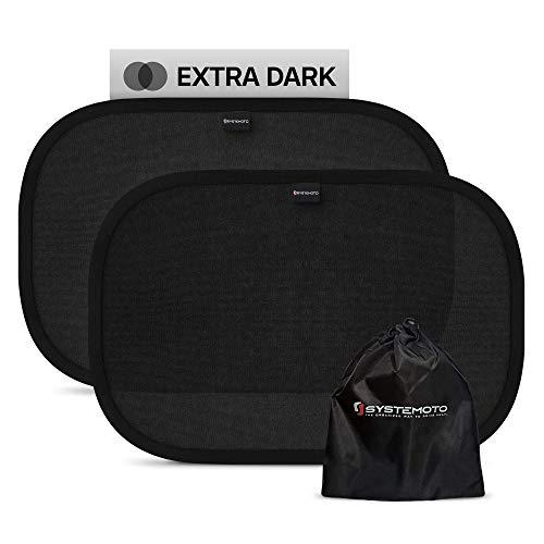 Systemoto Auto Sonnenschutz für Babys - Extra dunkel - Zertifizierter UV-Schutz - 2er Set Selbsthaftende Sonnenblenden für Kinder (Schwarz)