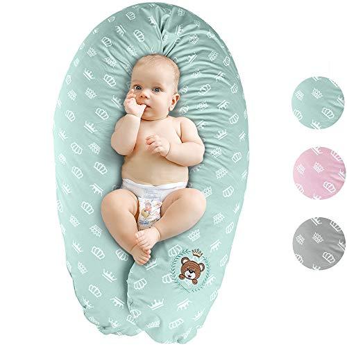 Bebé almohada de enfermería, cojín de lactancia, XXL 190x30   Relleno: microperlas EPS muy silenciosas, libres de sustancias nocivas, lavable a máquina