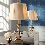 Louis Traditional French Fleur-de-Lis Table Lamps Set of 2 Antique Gold Ivory White Pleated Bell Shade Decor for Living Room Bedroom House Bedside Nightstand Home Office Family - Regency Hill