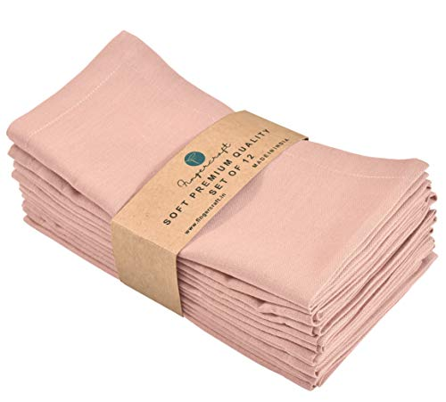 FINGERCRAFT Cloth Napkins Dinner Washable in Cotton Linen Fabric,Blush 12 Pack,Premium Quality, Mitered Corners for Every Day Use Napkins are Pre Shrunk and Good Absorbency Dusty Pink