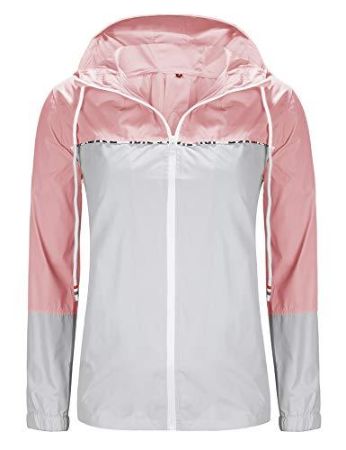 UUANG Damen Regenjacke mit Kapuze für Mädchen, leicht, wasserdicht, wasserdicht, für Reisen, Radfahren, Wandern, Damen, pink / grau, Large