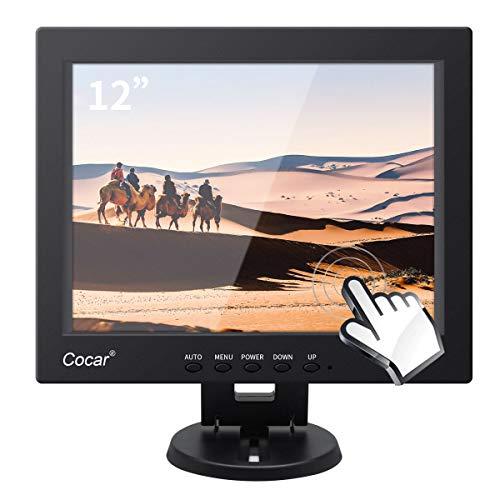 12.1 Pulgadas Monitor Tactil, LCD TFT Pantalla PC con VGA/USB Salida y Altavoz Integrado, PC Pantalla Táctil para POS Cajero Restaurante Bar Café Tienda de Rosquillas Menú Orden Punto de Venta