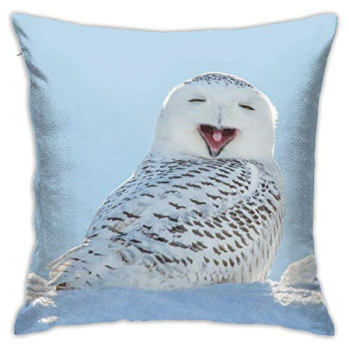 Snowy Owl Yawning Decorative Throw Pillow Cover Polyester Cushion Case for Home Sofa Bedroom Car Chair House Party Indoor Outdoor 18 X 18 Inch 45 X 45 cm
