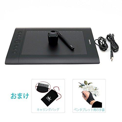 HUION ペンタブレット プロフェッショナル H610 PRO 手袋 グローブ / ケース セット