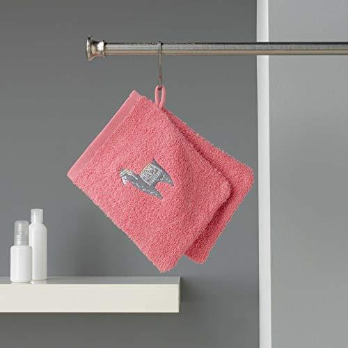 douceur d'intérieur 2 gants de toilette 16x21 cm eponge brodee lamalima rose