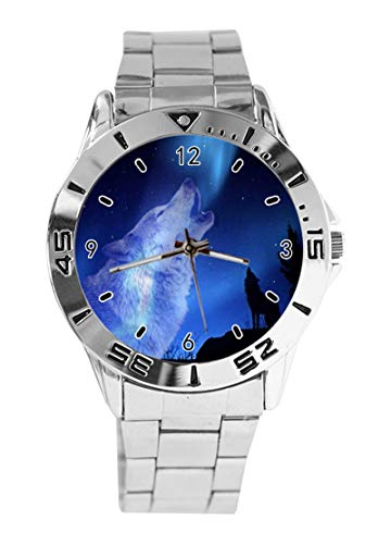 Wolf Custom Design Analog Armbanduhr Quarz Silber Zifferblatt Classic Edelstahlband Damen Herren Armbanduhr