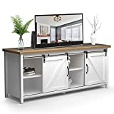 White TV Stand with Sliding Barn Door for 65' TV, Farmhouse Entertainment Center for Living Room, Storage Cabinet Table Distressed White&Rustic