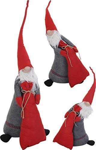 Grand Joyeux Père Noël avec Sac Graves Butoir de porte 110-60cm-Figurine-avec pieds télescopiques-Noël-Figurine Videur