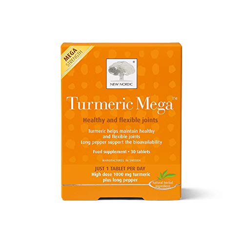 New Nordic Turmeric Mega - 30 Tablets - Healthy and Flexible Joint Care Supplements - Dairy and Gluten Free - Vegan - Long Pepper Food Supplements - Suitable for Women and Men