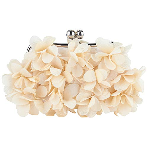Bonjanvye Floral Clutch Purses for Women Satin Evening Bag-Champagne