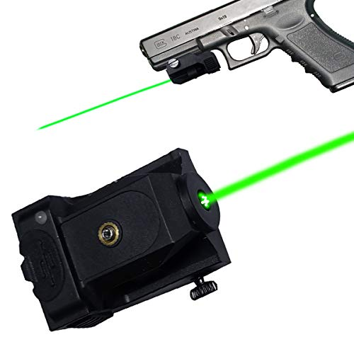Tactical Green Laser Sight for Pistols, Rail-Mount Low Profile Laser for Handguns, USB Rechargeable Gun Lasers with Ambidextrous Activation Tabs, for Rifles Shotguns with Rails