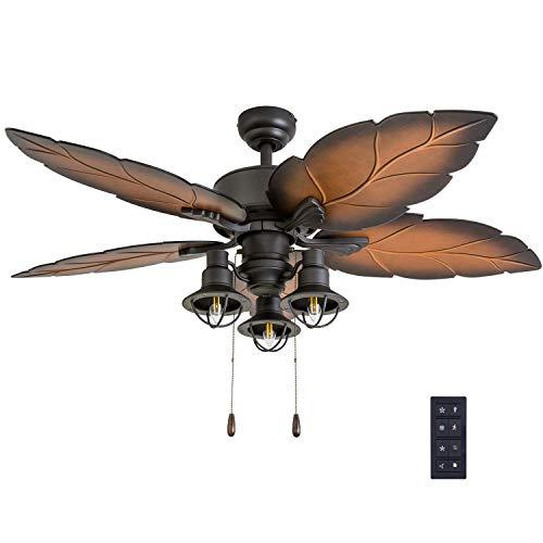 Prominence Home 50759-01 Ocean Crest Ceiling Fan (3 Speed Remote), 52', Mocha, Tropical Bronze