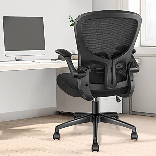 Desk Chair - Ergonomic Office Chair SwivelComputer Chair with Flip-up Armrest, Adjustable Lumbar Support, HeightTilting Adjustment, YONISEE Home Office Desk Chairs Mesh TaskRocking Executive Chair