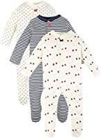 Marks & Spencer Baby-Girls' 3 Pack Organic Cotton Sleepsuits, White/Red