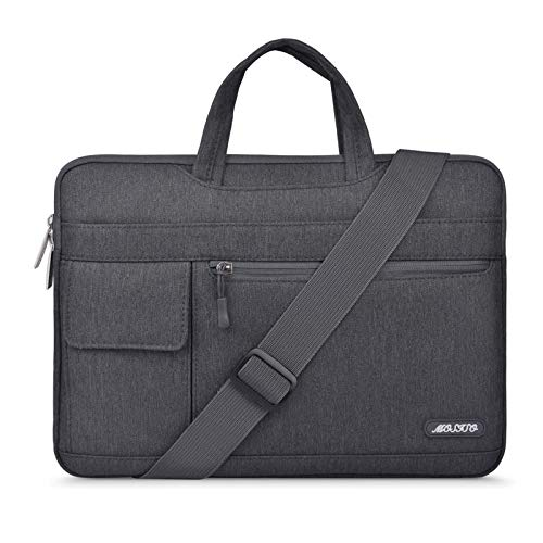 MOSISO Laptop Shoulder Bag Compatible with MacBook Pro/Air 13 inch, 13-13.3 inch Notebook Computer, Polyester Flapover Briefcase Sleeve Case, Space Gray