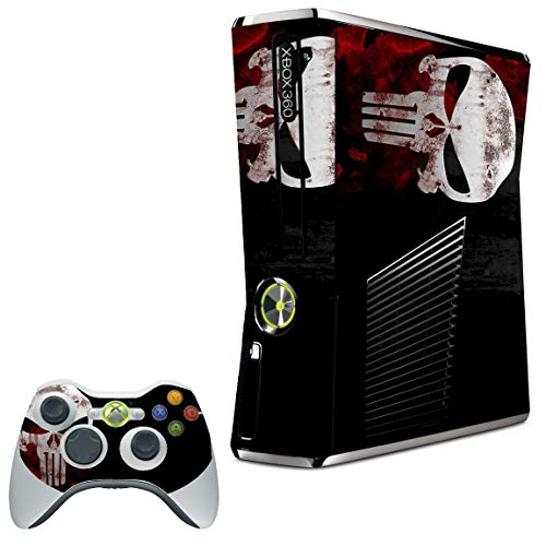LidStyles Vinyl Protection Skin Kit Decal Sticker Compatible with Microsoft Xbox 360 Slim (Skull Punisher)