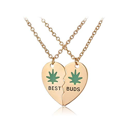 xtszlfj Best Buds Necklace Esmalte Weed Leaves Corazón Roto Collares Pendientes Best Friends BFF Jewelry Gifts