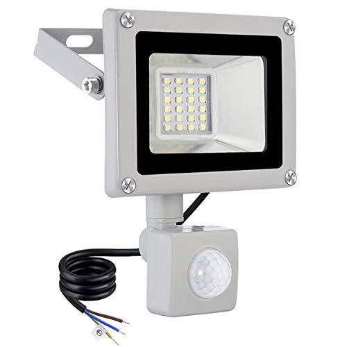 20W Focos LED Exterior con Sensor de Movimiento 1600LM Luz de Seguridad 6500K Blanco Frío Impermeable IP65 Foco Proyector LED para jardín Terraza Garaje Patio Fábrica
