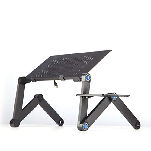 Sweepid - Mesa plegable de aleación de aluminio para ordenador portátil, mesa de ordenador portátil, soporte para cama, sofá, escritorio, bandeja para libros, color negro