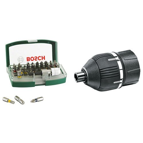 Bosch 2 607 017 063 - Set con 32 unidades para atornillar (incluye puntas de seguridad) - 130 x 67 x 45 + 2 609 256 968 - Adaptador del par de apriete - Systemzubehör passend zu -Akku-Schrauber IXO III, IXO IV (pack de 1)