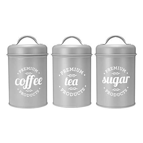 yuge Juego de 3 cajas de almacenamiento para té, azúcar y café para cocina, recipientes de alimentos, frascos, botellas de almacenamiento de caramelos, tarros de boxeo, color gris