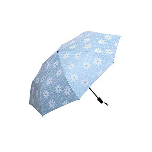 QIANZICAIDIANJIA Daisy Anti-UV Sun Umbrella, Female Black Plastic Sun Umbrella, Five Fold Mini Pocket Umbrella, Three Fold Plaid Umbrella, Best Outdoor Sun Protection Rain Partner Umbrellas