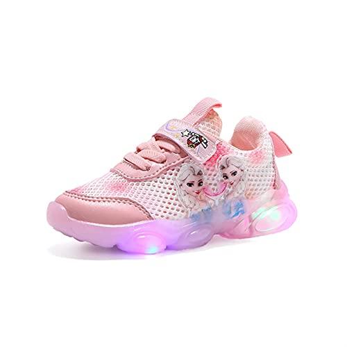 IRON JF ELSA Schuhe mädchen,Sommer-mädchen Leuchtschuhe,Kinder led Sneakers,Hohles Mesh Stoffschuhe für Kinder mit Klettverschlus Sportschuhe, Turnschuhe Laufen Kinder (Color : Pink, Size : 27)