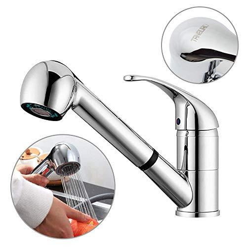 TANBURO Wasserhahn Küche, ausziehbar Küchenarmatur, Einhebel-Spültischarmatur mit 360° Drehbar Dual-Spülbrause, Kaltes und Heißes Wasser Vorhanden Verchromt