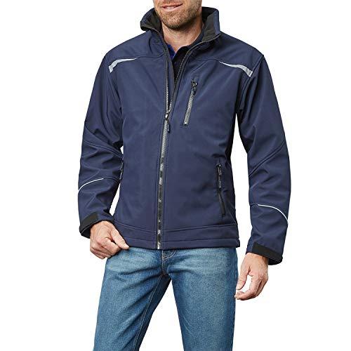 Pionier ® workwear Herren Softshell Arbeitsjacke | atmungsaktive Jacke | verstellbare Ärmel | reflektiert bei Nacht | Outdoor Tätigkeiten | Marine S