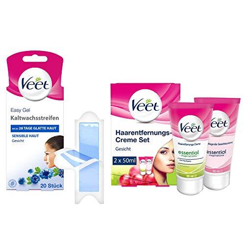 Veet Kaltwachsstreifen Gesicht sensible Haut 10 x Doppelstreifen - Veet Haarentfernungs-Creme Gesicht 100ml (2er Set x 50ml) - Veet Haarenfernung für das Gesicht