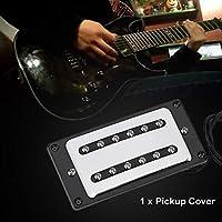 真ちゅう製ステイン-2スロットデザインメタルピックアップカバー、ピックアップカバー、エレキギター用(Silver)