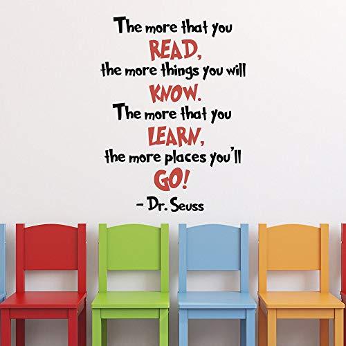 Dr Seuss Stickers muraux en vinyle avec citation de diplôme, inscription « The More That You Read », inscription en anglais « The More That You Read », « Dr Seuss »