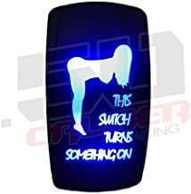20A 12V Rocker Switch ON/OFF Blue LED Backlit - This Switch Turns Something On - UTV, Auto, Boat [5360-A38]
