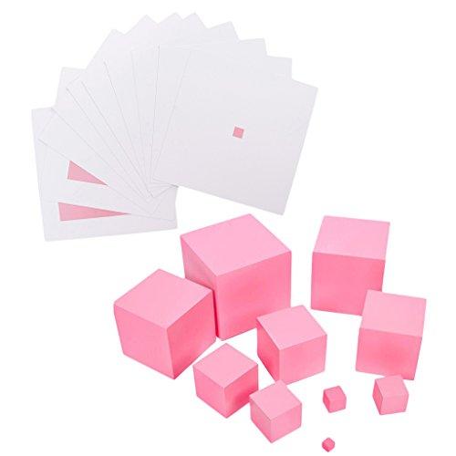 Gazechimp Montessori Spielzeug: Holz Rosa Turm mit Kontrastkarten, Kinder Puzzel Spielzeug