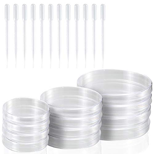 Young4us Petri Dish Set with Lids, 12 Pack Sterile Petri Plates in 3 Sizes with 12 Pack 3ml Plastic Dropper Pasteur Pipettes for Lab, Experiment, Biology, Microbiology Studies (Pack of 24)