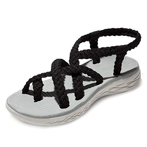 chitobae Comfortable Lightweight Soft Strappy Flat Sandals for Women(10 M US, Black/Grey Bottom)
