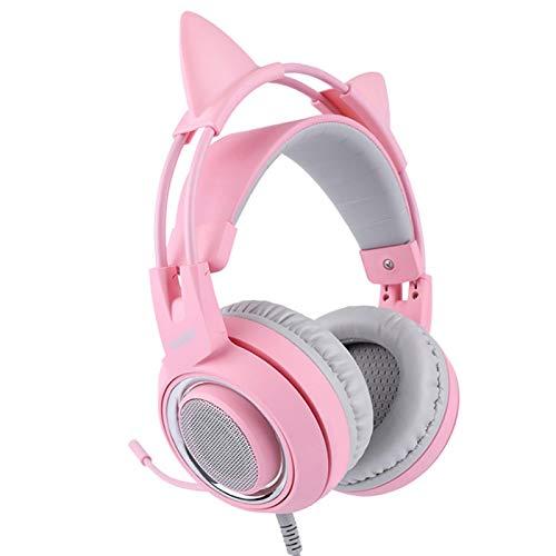 DASNTERED Gaming-Headset, Abnehmbarer Cat-Ear-Kopfhörer Pink Cat-Headset Noise Cancelling Head Mounted Vibration für SOMIC G951s