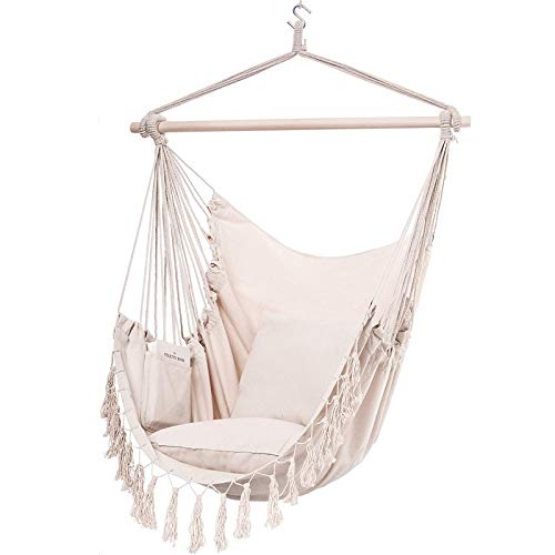 Y- STOP Hammock Chair Hanging Rope Swing-Max 330 Lbs-2 Cushions Included-Large Macrame...