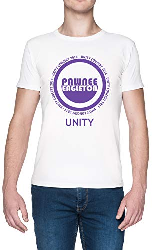 Capzy Pawnee-Eagleton Unity Concert 2014 Bianca Uomo Maglietta Dimensioni XXL White Men's Tee Size XXL