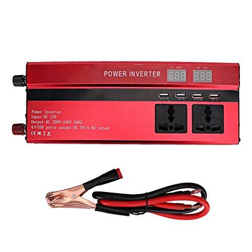 Inversor de corriente para coche-5000W DC 12V a AC 220V Convertidor de inversor de corriente para coche Adaptador de cargador USB con pantalla LCD