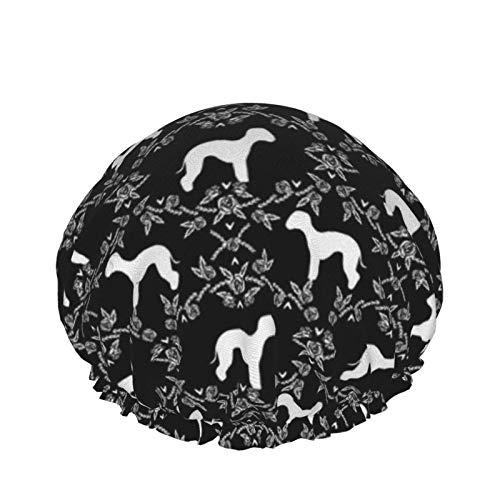 Bedlington Terrier Floral Dog Black Badekappe für Frauen Wasserdichte verstellbare doppelschichtige Dusche