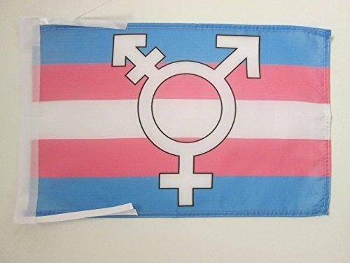 AZ FLAG Bandera Arco Iris TRANSGENERO con SIMBOLO 45x30cm -