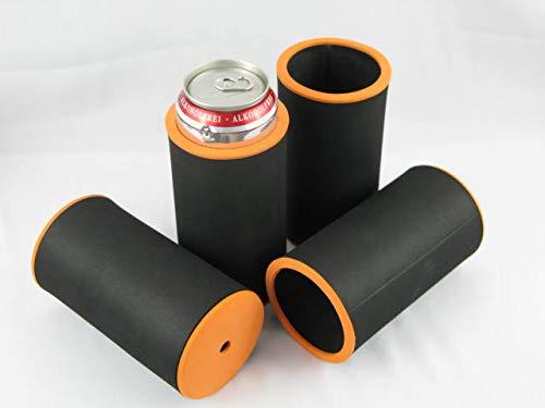 asiahouse24 Mit Buntem Rand - 4er Set Schwarz Getränkekühler 0,5l Dosenkühler - Bierkühler - Neoprenkühler für alle genormten 0,5l Bierdosen aus hochwertigen 5-6mm starken Neopren