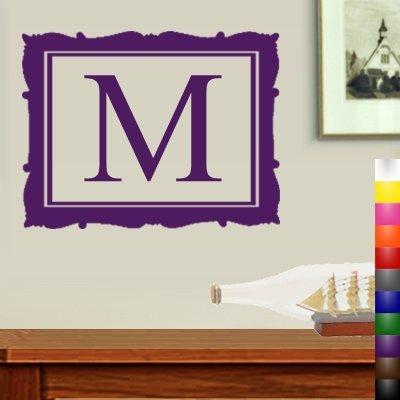 """StikEez Purple 20"""" Letter M Framed Monogram Fun Cute Fancy Decal"""
