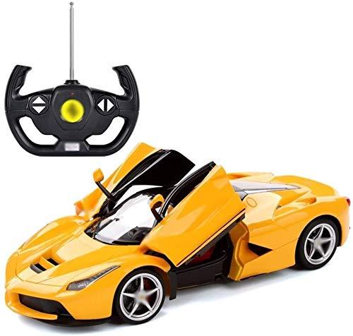WASHULI Maßstab Druckgießende Legierung Spielzeug Fernbedienung Auto, Kinderwagen, wiederaufladbare Sportwagen-Modell mit Ladesatz, Ferrari-Fernbedienung Auto (Color : Yellow, Size : One Size)
