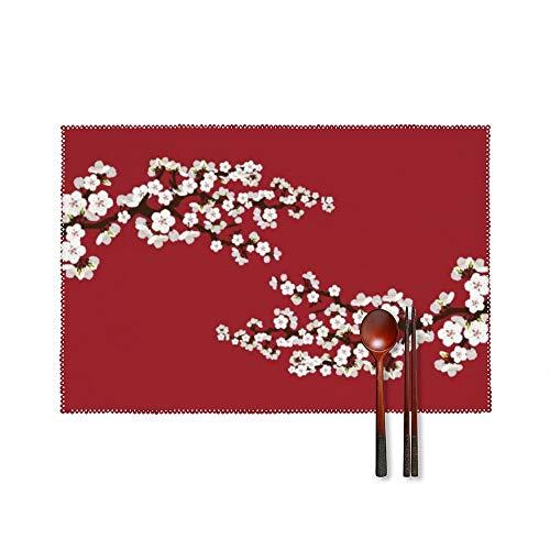 SedExd Un Ensemble de 4 Sets de Table Table Home Garden Barbecue Dessous de Verre décoratifs Blanc 45x30cm,Tapis de Table antidérapant Lavable et résistant à la Chaleur-Cerises Fleurs Sakura
