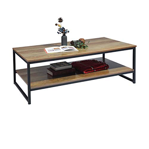 Modern Square Coffee Table End Table, Industrial Metal Frame Side Table for Living Room
