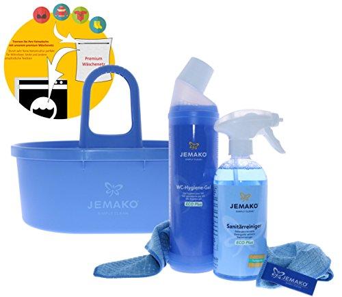 Jemako Set - Sanitärgrundreiniger (500 ml-Flasche) WC-Hygiene-Gel (750 ml-Flasche) Profituch klein (35 x 40 cm) blau Wascheimer inkl. Sinland feinmaschiges Wäschenetz