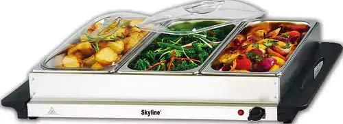 SKY LINE Stainless Steel Server VTL-9777, 300 W 3 x 2.5 L Buffet (Medium, Silver)